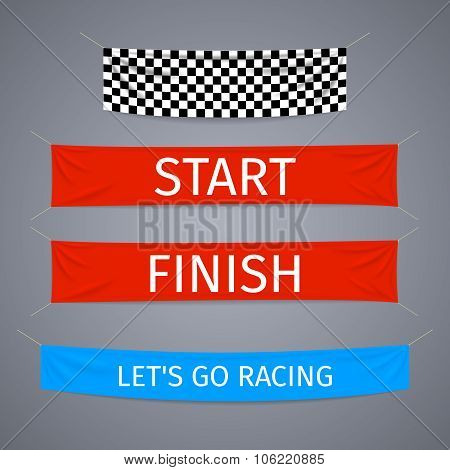 Start and finish textile banners vector set