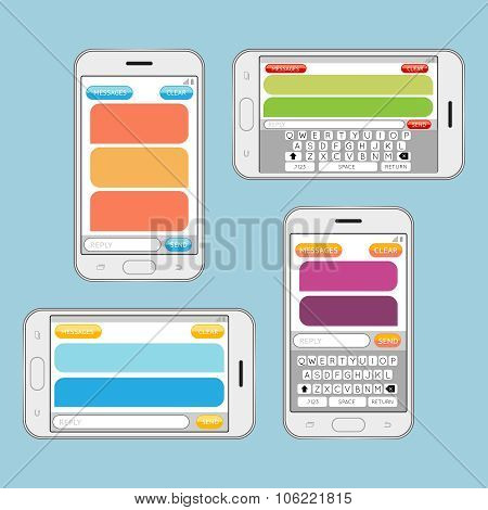Smartphone chatting sms messages speech bubbles vector template. Internet messaging, chat web communication. Vector illustration poster