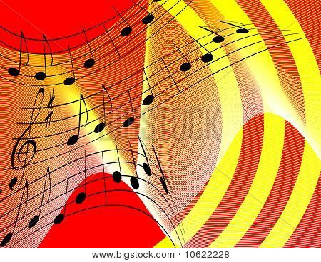 Bright background with musical notes