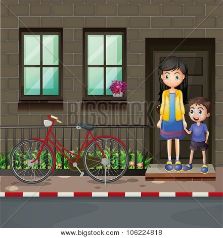 Boy and mother in front of a house illustration