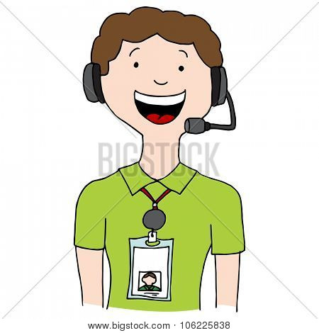 An image of a call center agent man wearing id lanyard badge.