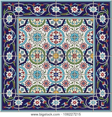 Gorgeous seamless  pattern from tiles and border. Moroccan, Portuguese,Turkish, Azulejo ornaments. C