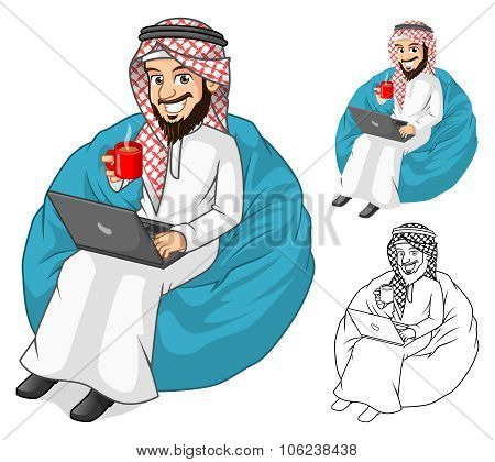 Arab_businessman_holding_a_cup_of Coffee_and_laptop_with_sit_pose_cartoon_character_by_ridjam.eps