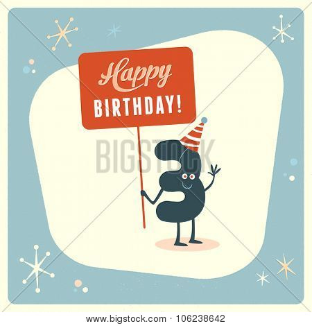 Vintage style funny 3rd birthday Card.