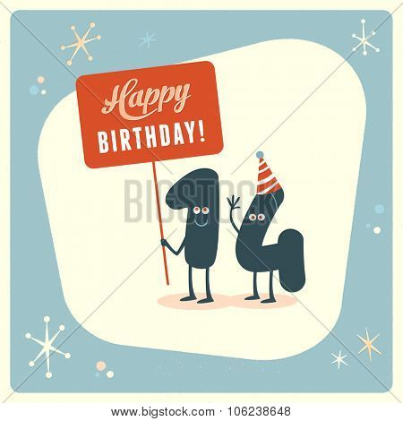 Vintage style funny 14th birthday Card.
