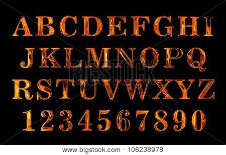 Fire font set. flame Alphabet. fire text collection. Alphabet of Fire