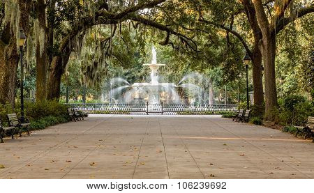 Forsyth Fountain Under Oaks