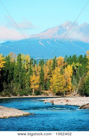 Fishing With Autumn Colors & Mountain