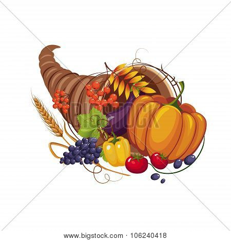 Horn of Plenty with Vegetables, Fruits, Stalks and Autumn Leaves, Vector
