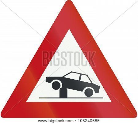 Netherlands Road Sign J39 - Warning For Retractable Bollard