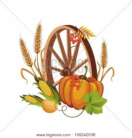 Wheel with Vegetables and Stalks Vector