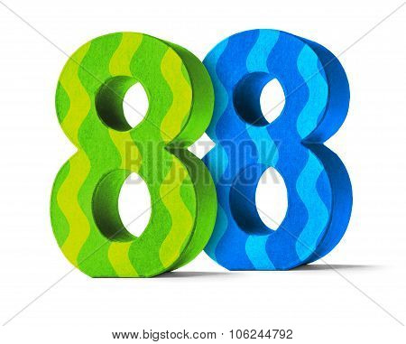 Colorful Paper Mache Number On A White Background  - Number 88
