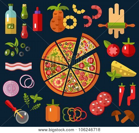 Slices of pizza and pizza's ingredients
