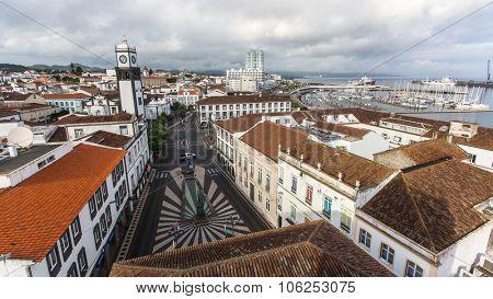 PONTA DELGADA, AZORES/PORTUGAL - CIRCA JUN, 2015: Top view of center of Ponta Delgada. City is located on Sao Miguel Island (233 km2) Region capital under the revised constitution of 1976.