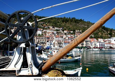 beautiful scenery at gyrhion harbour in greece poster
