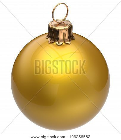 Christmas ball yellow New Year's Eve bauble wintertime decoration glossy sphere hanging adornment classic poster