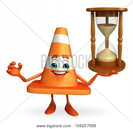 Construction Cone Character With Sand Clock