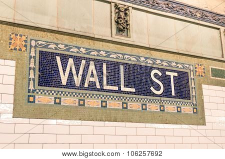 Wall Street Subway Mosaic Sign - New York City Underground