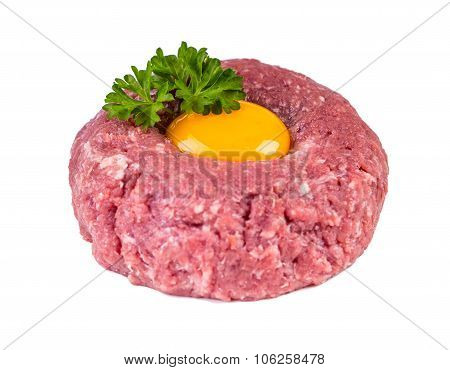 Raw beef .Tasty Steak tartare. Classic steak tartare over white. Ingredients: Raw beef meat salt pepper egg garlic chili herb decoration and toast bread. Isolated on white. poster