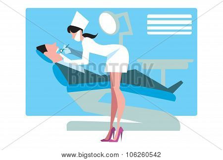 Dentist is going to treat teeth. Dentist office. Dental care concept. Dentist on the work. Dentist cartoon character vector illustration. Dentist with special dental tools. Dental clinic concept. Dentist with patient.