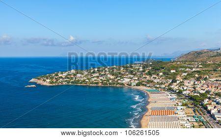 Mediterranean Sea Landscape. Wide Public Beach