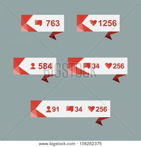 Vector Like Counter Notification Icons Set on ribbons and labels poster