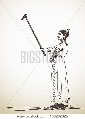 Women taking a selfie with smart phone, Hand drawn illustration sketch