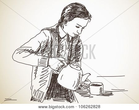 Teen Girl Pours Tea Vector & Photo (Free Trial) | Bigstock