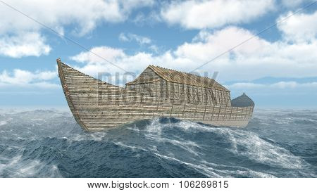 Computer generated 3D illustration with Noah's Ark in the stormy ocean poster
