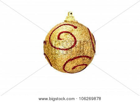 Christmas gold ball with red