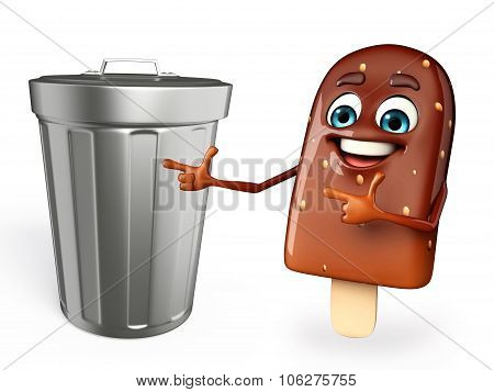 Candy Character With Dustbin