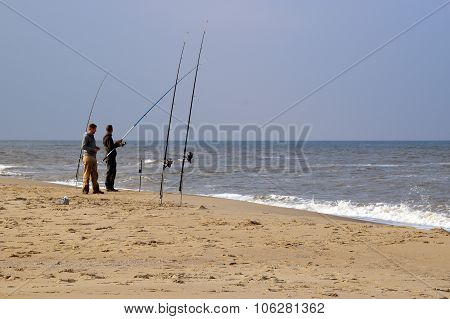 Fishing at the sea