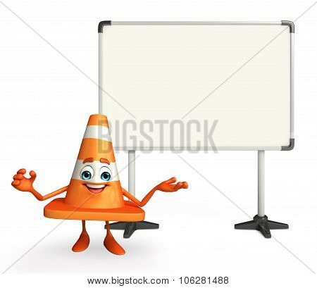 Construction Cone Character With Display Board