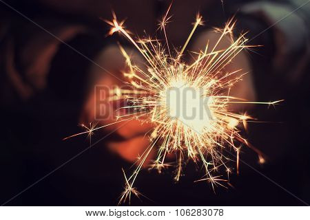 Beautiful Sparkler In Woman Hands