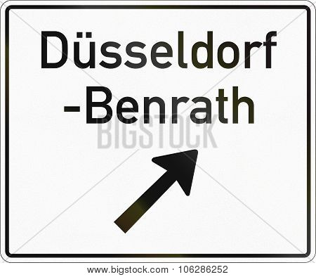 German information road sign: Exit to Duesseldorf-Benrath ahead. poster