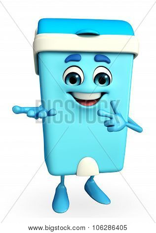 Dustbin Character With Holding Pose