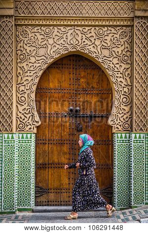 Fes, Morocco - Circa September 2015 - A Traditionally Dressed La