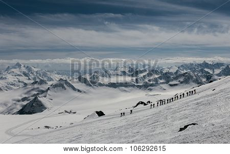Mountaineers Climbing Mount Elbrus.