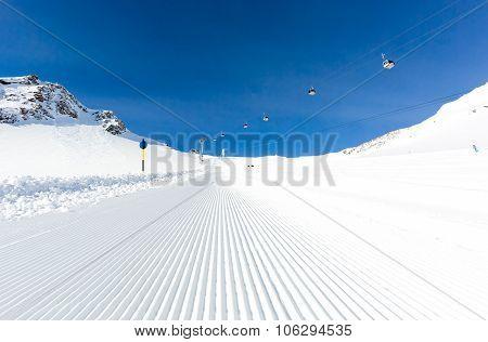 Groomed Ski Run At Ski Resort
