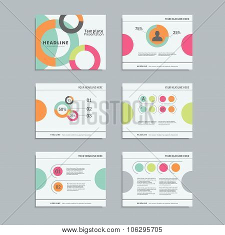 Set templates infographics for presentations, business, layout, modern style