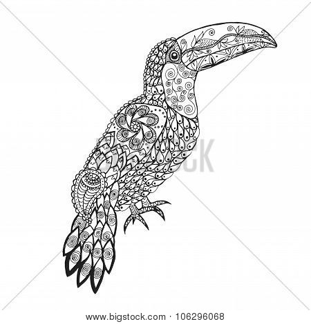 Zentangle stylized toucan.