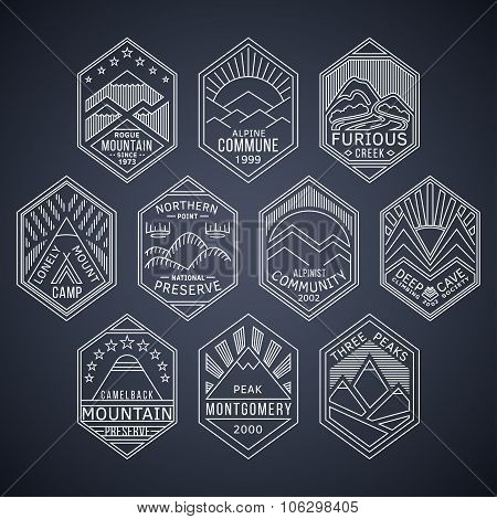 Mountain badges linear 1white