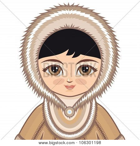 The girl in Chukcha dress. Historical clothes. The Far North. Colorful drawing on a white background