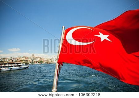 Bright Red Flag Of The Republic Of Turkey Waving