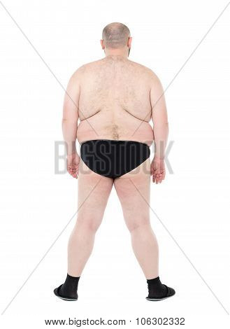 Naked Overweight Man With Big Belly Back View