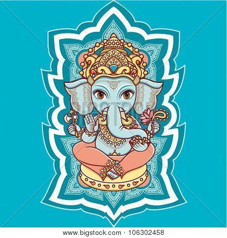 Hindu elephant head God Lord Ganesh. Hinduism. Happy Ganesh Chaturthi. Vector elements isolated. Han