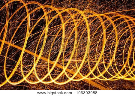 Circles pattern made with lighted steel wool spinning in the dark