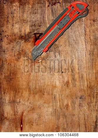 old industrial tradesman knife on the table poster