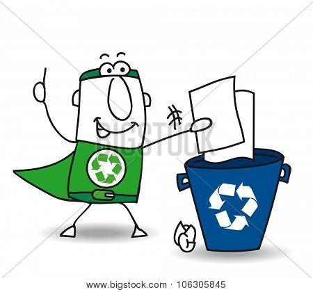 Recycling paper. Recycle-Man the superhero recycles paper and carton in a specific trash