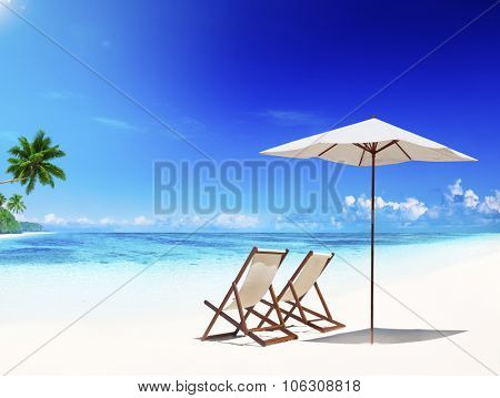 Deck Chair Tropical Beach Leisure Summer Vacation Concept
